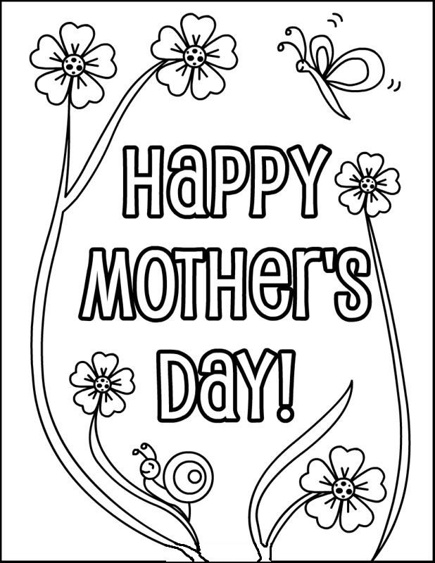 Happy Mother\'s Day Greeting coloring picture for kids   Mother\'s Day ...