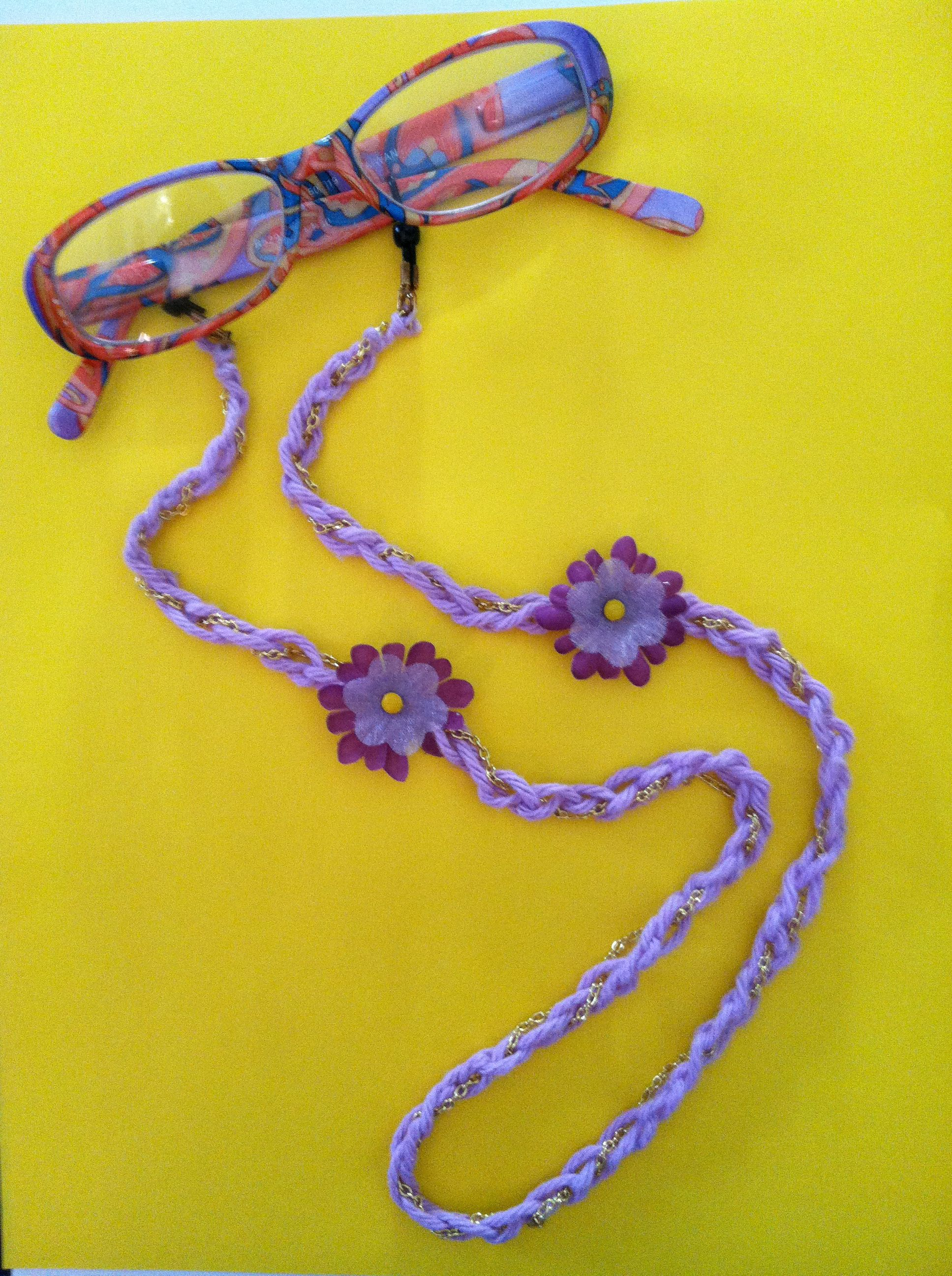 Single crochet then run an old necklace chain through it, attach to eyeglass things, pop on some flowers and voila! - no more lost glasses!