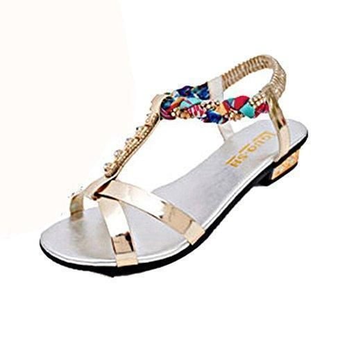 072e0f92b Oferta: Comprar Ofertas de Calzado de mujer,Amlaiworld Bohemia plana talón sandalias  planas del diamante plata) barato. ¡Mira las ofertas!