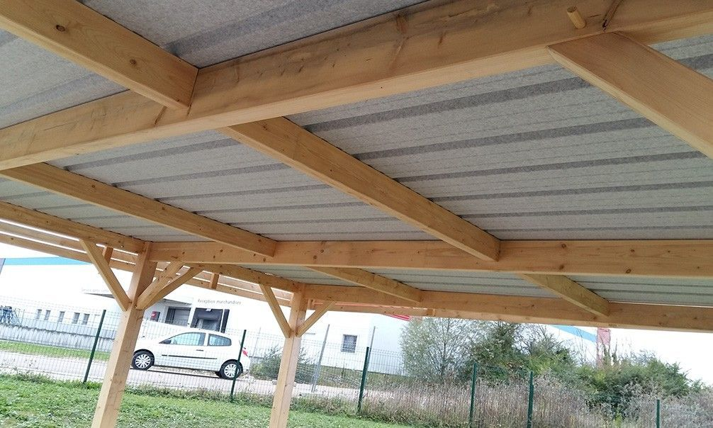 Carport Carport 2 Voitures Brehat Toit Plat Double 40 8m Couvert Outdoor Buildings Double Carport Garage Construction