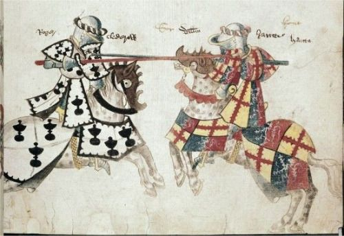 C 1445 C 1450 Knights Jousting From Sir Thomas Holme S Book Of Arms Medieval Paintings Medieval Books Jousting