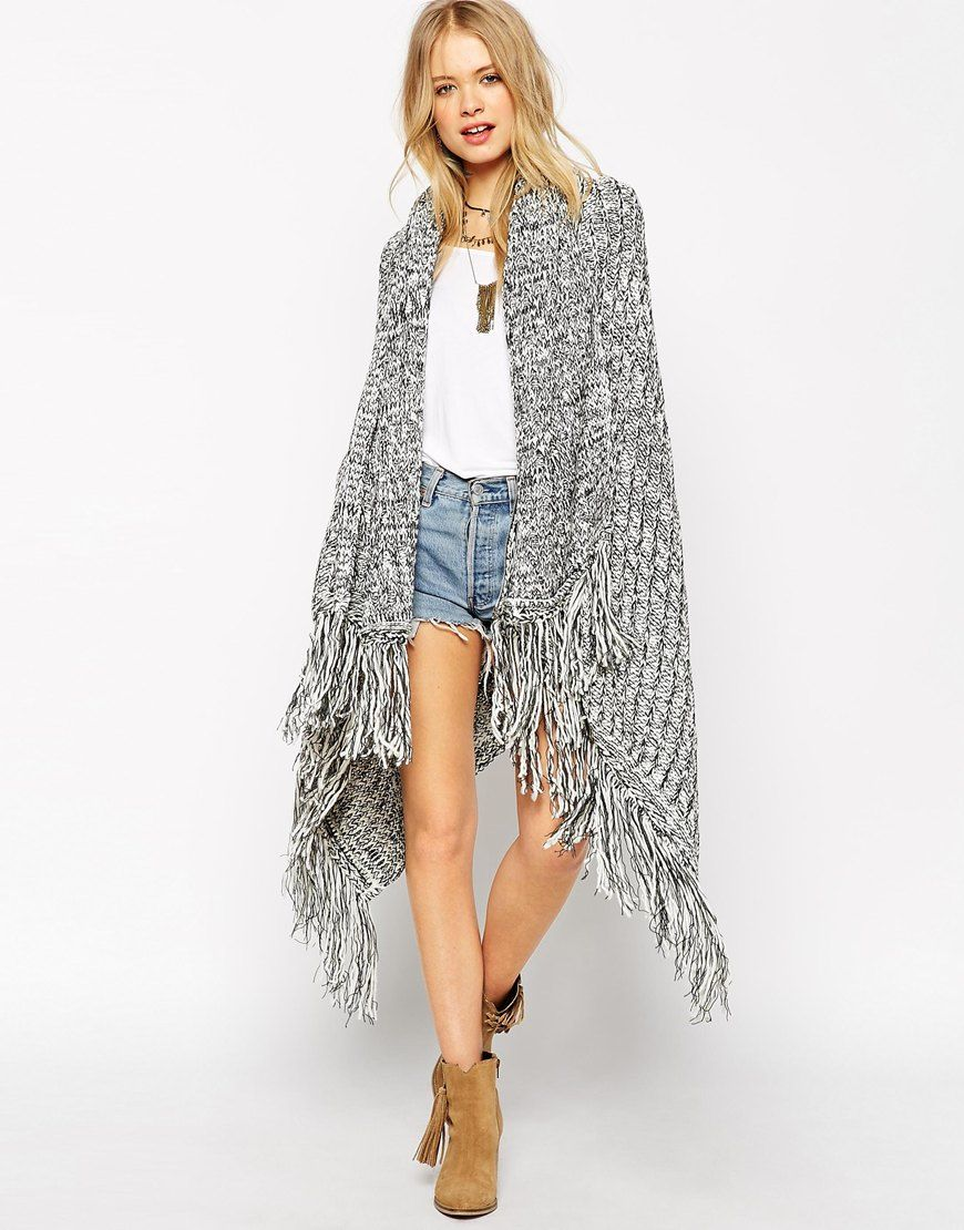 Image 1 of ASOS Oversized Cape With Scarf And Fringing