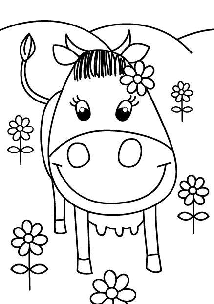 Coloriage Ferme Fleur.Coloriage Vache Et Petites Fleurs A Imprimer Ferme Coloriage