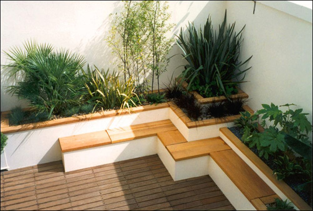 Architecture: Simple Rooftop Garden Design Ideas With Slatted Wooden  Flooring And Cozy Seating Featuring Greenery