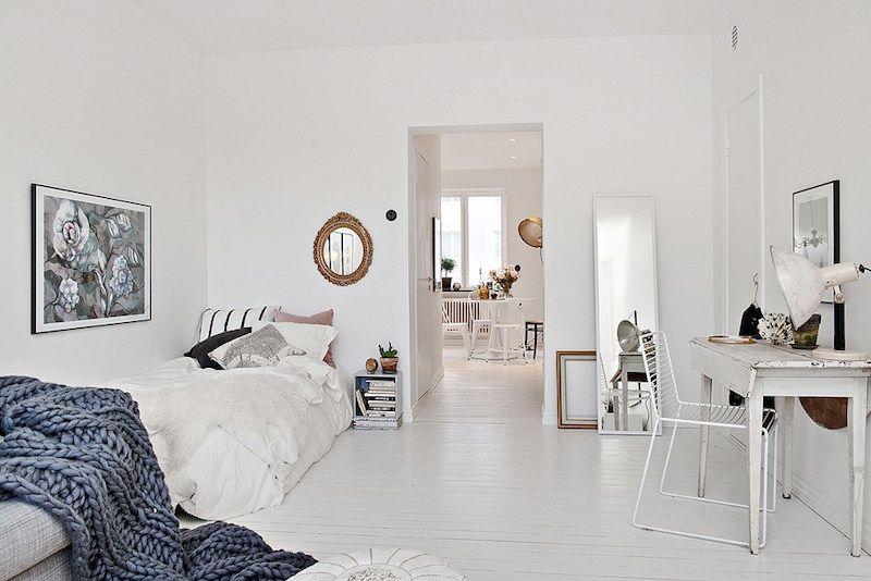 Decorar una casa en blanco, gris y dorado Bohemian decor, Bedrooms