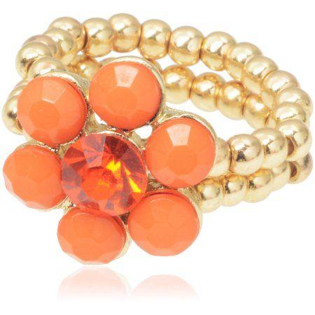 Brinley Co. Women's CZ Gold-Tone Flower Stretch Fashion Ring, Coral