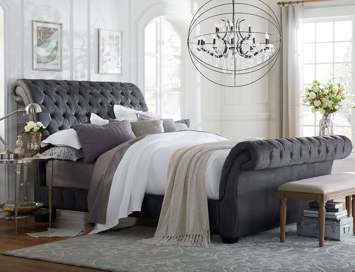 Bombay Gunmetal King Upholstered Bed Bedding Master