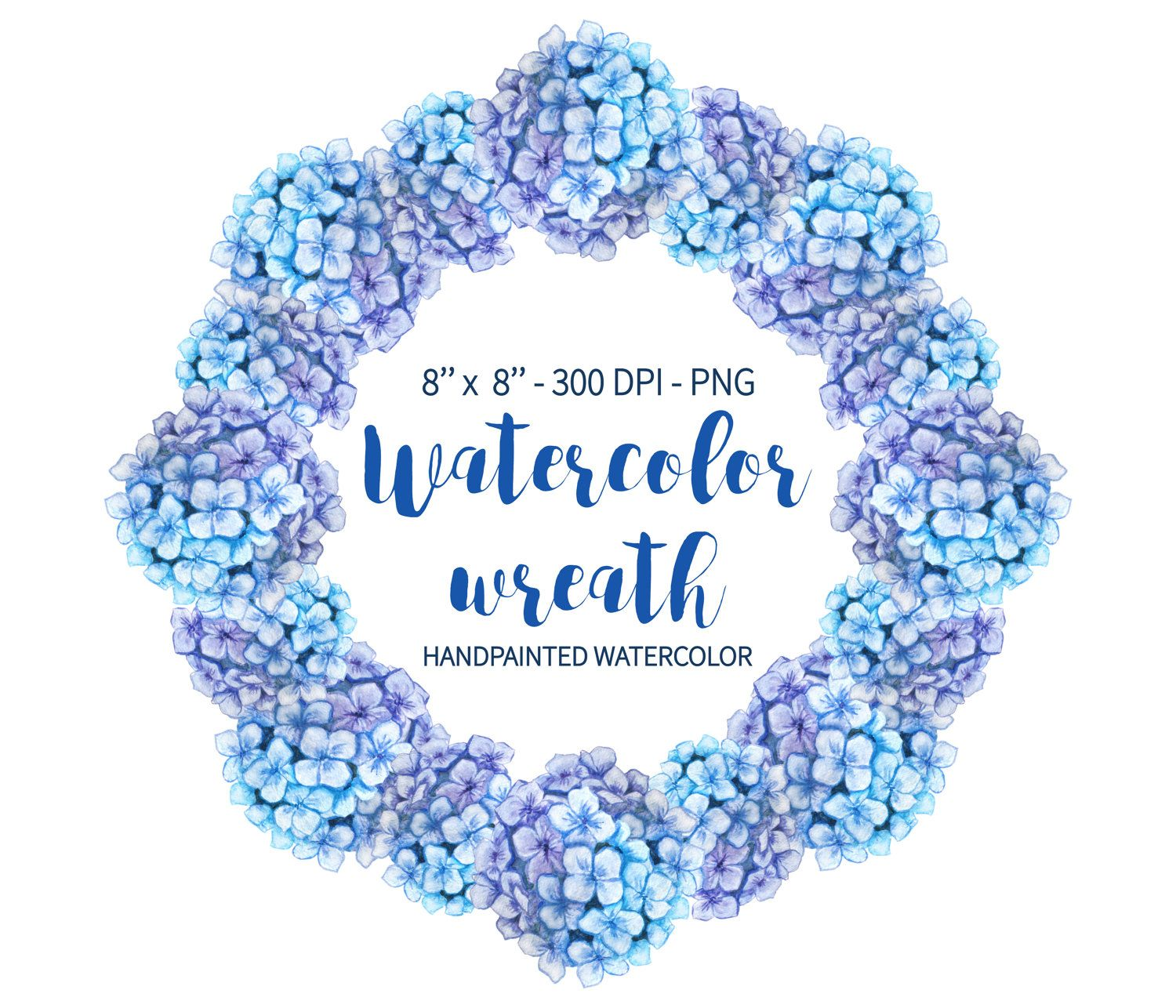 Hydrangea Clipart Wreath Clipart Blue Hydrangea Watercolor Wreath