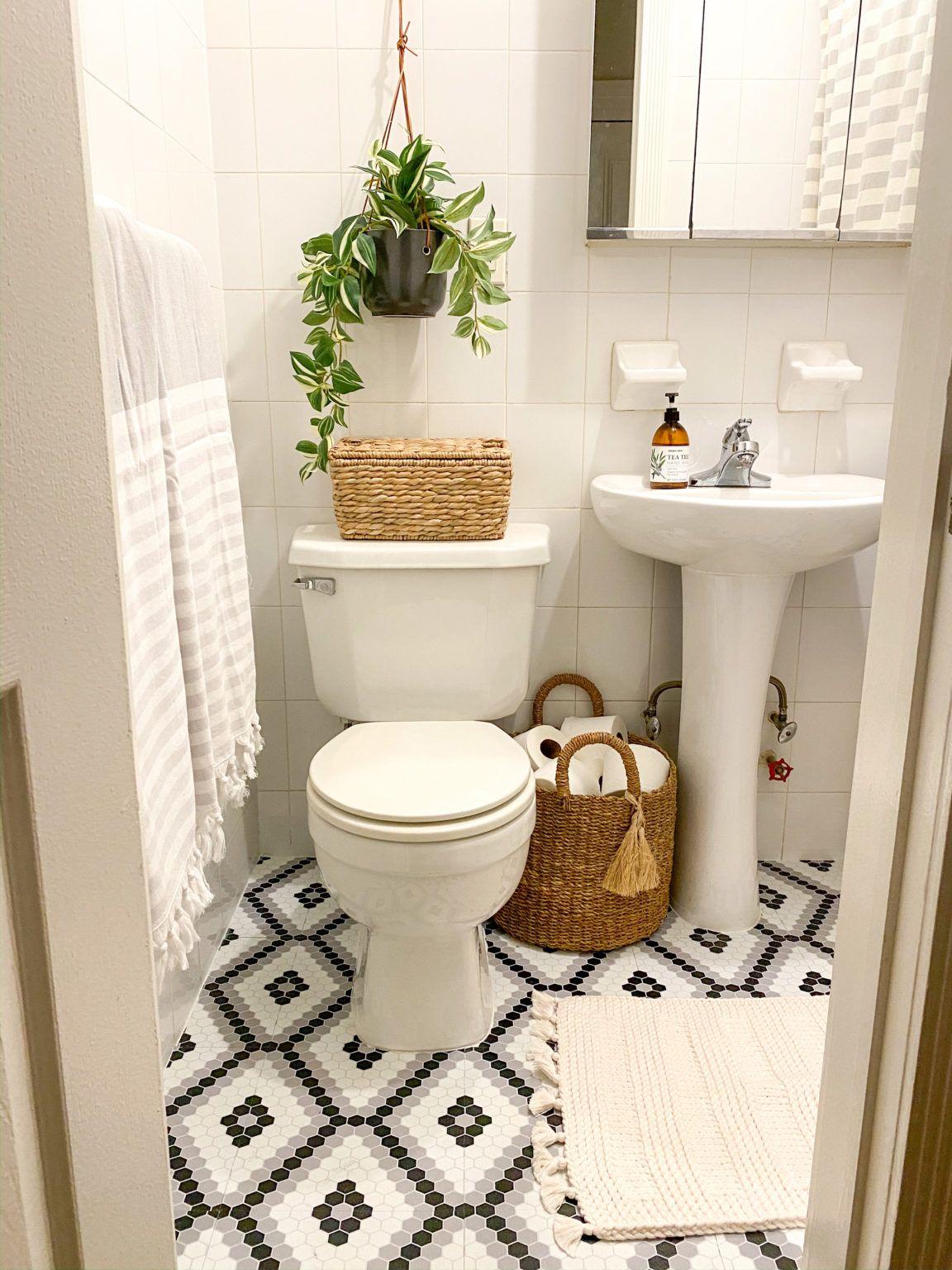 NYC Rental Bathroom Makeover with floor tiles