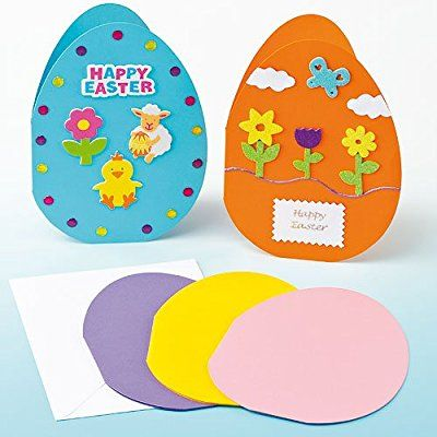 Giant Coloured Egg Card Blanks for Children to Decorate for Easter (Pack of 5)