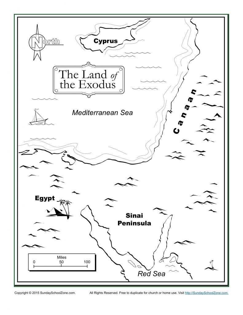 The Land Of The Exodus Bible Coloring Map Bible Activities For