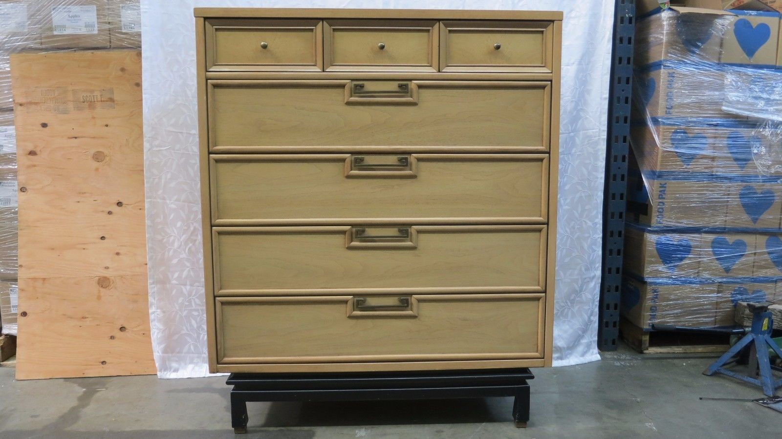 This is a 1960\'s six piece bleached mahogany bedroom set by ...