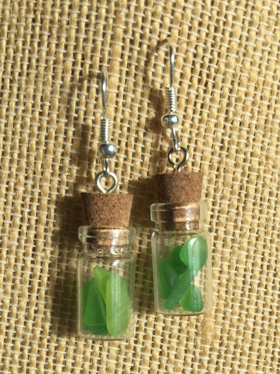 Green SeaGlass in Mini Glass Vial EarringsTwo awesome mini Shaped bottles filled with Texas sea glas