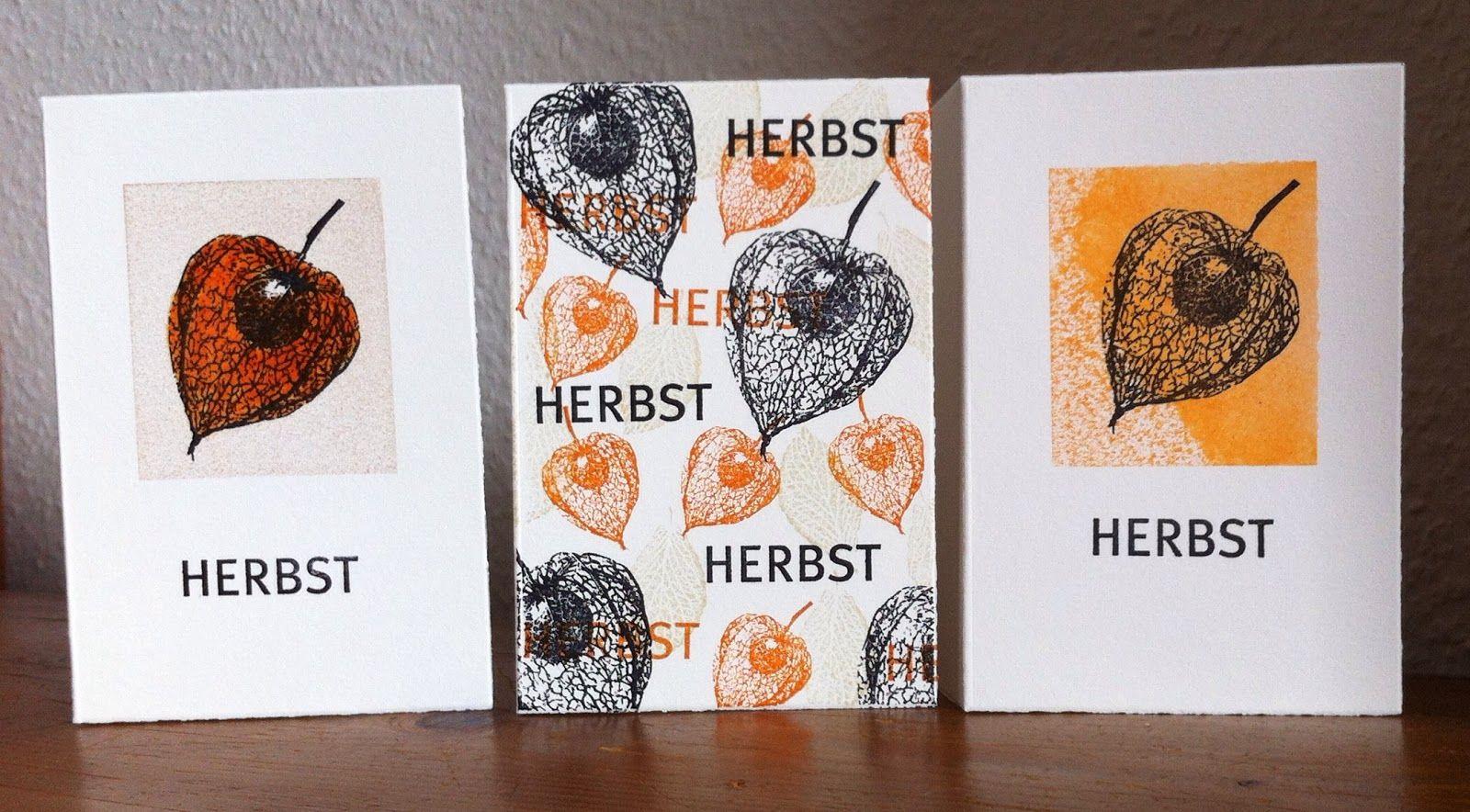 Die schlichte Karte: Physalis - Herbskarte, Physalis, Stempel Alexandra Renke und Heindesign (Hintergrund und Jahreszeiten)