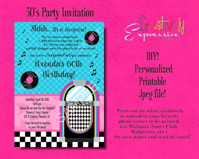 1950s Birthday Party Invitation Fifties 50s sock hop Diner – 1950s Party Invitations