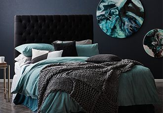 dark grey and teal bedroom around the house pinte