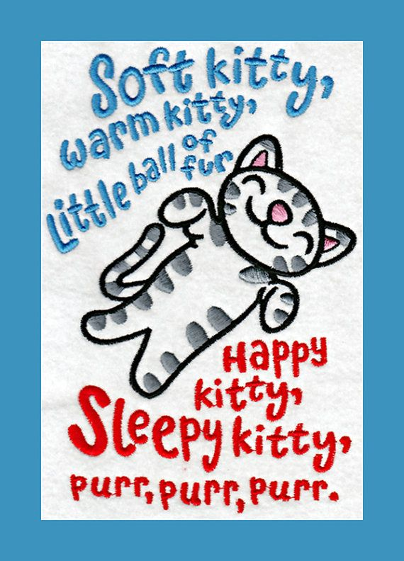 SOFT KITTY, Big Bang Theory, embroidery design file, $6.00