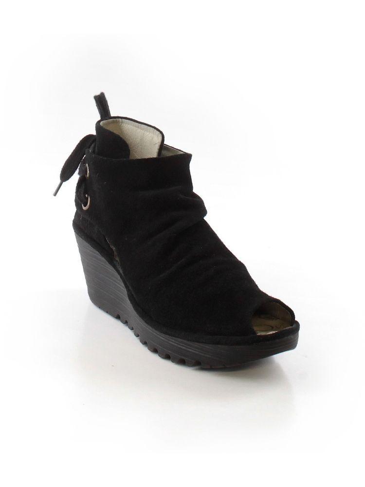 82eaa6c21f3 Women Fly London Black Suede Yema Wedge Ankle Bootie Shoe Peep Toe Size 41 # FlyLondon #Booties