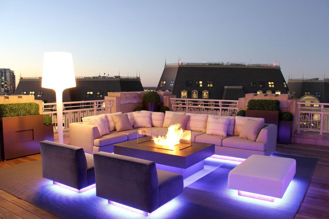 Exterior Wonderful Outdoor Living Spaces In Roof Top Decorated With Modern Design Completed Purple