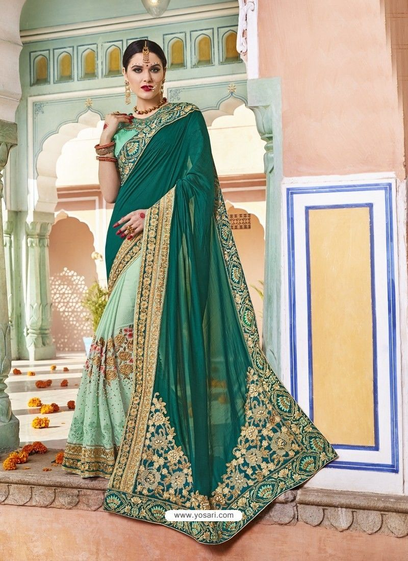 1d6176d90a30a8 Dark Green Rangoli Silk And Net Heavy Embroidered Party Wear Saree ...