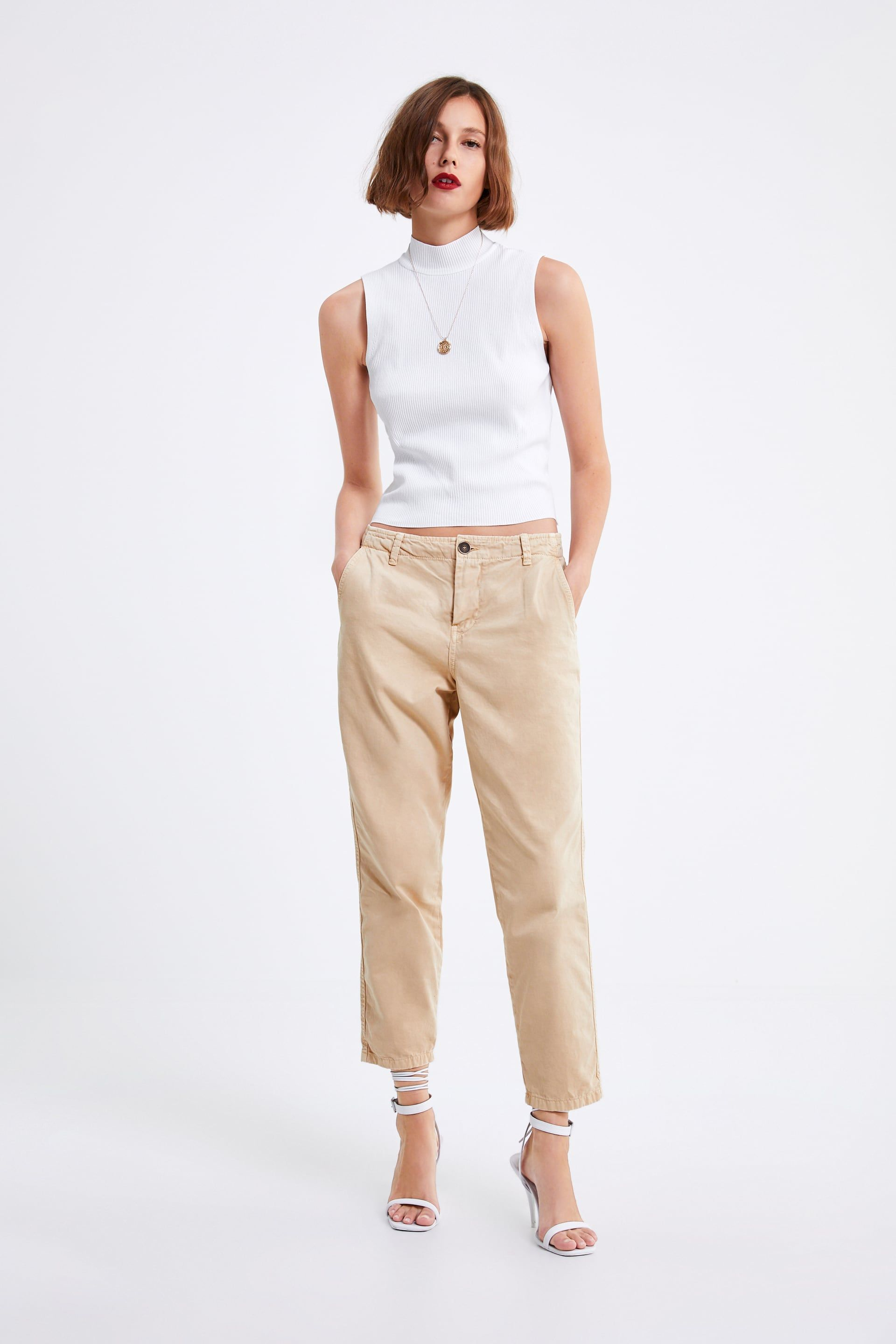 ab1b5e6293 ZW PREMIUM NEW CHINO JEANS - WHITE COLLECTION-WOMAN | ZARA United ...