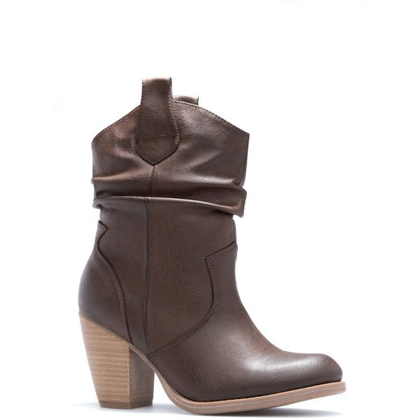 ShoeDazzle Booties Kymber Womens Brown ❤ liked on Polyvore featuring shoes, boots, ankle booties, booties, brown, brown booties, cowboy ankle booties, brown ankle booties, western booties and brown cowboy boots