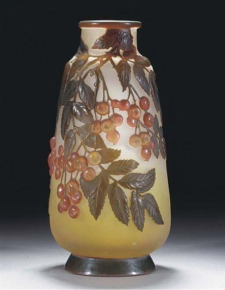 Mould Blown Cameo Glass Vase by Emile Galle. Art Nouveau