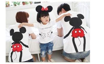 Novo 2014 moda de verão da família set mãe e filho roupas para mãe e filha de manga curta T-shirt da forma de família MICKEY