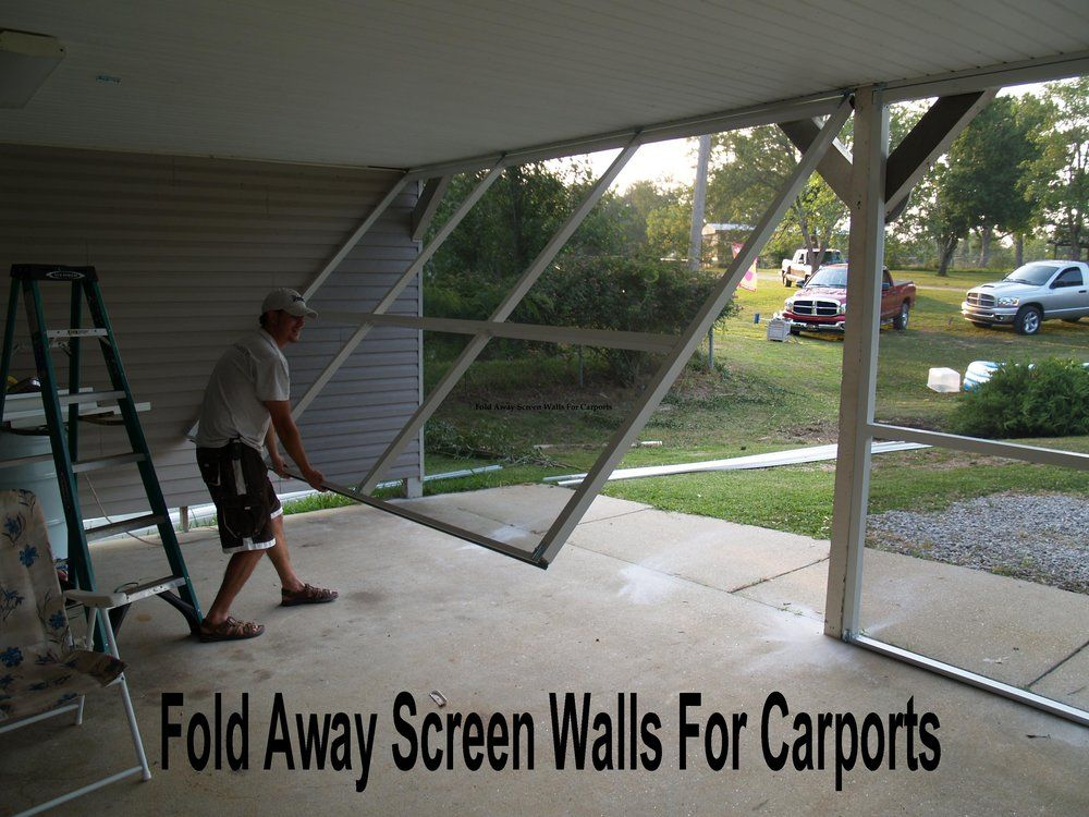 Fold away screen walls for carports or patio 39 s yelp for Carport flooring ideas