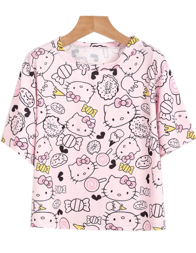 759a835fe112 Pink Short Sleeve Hello Kitty Print T-Shirt - Sheinside.com | HELLO ...
