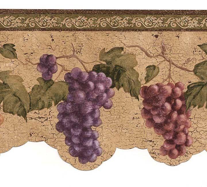 Wine Grapes Wallpaper Border Vin7312db Cafe Kitchen Wine Decor Grape Wallpaper Wine Wallpaper Grape Kitchen Decor