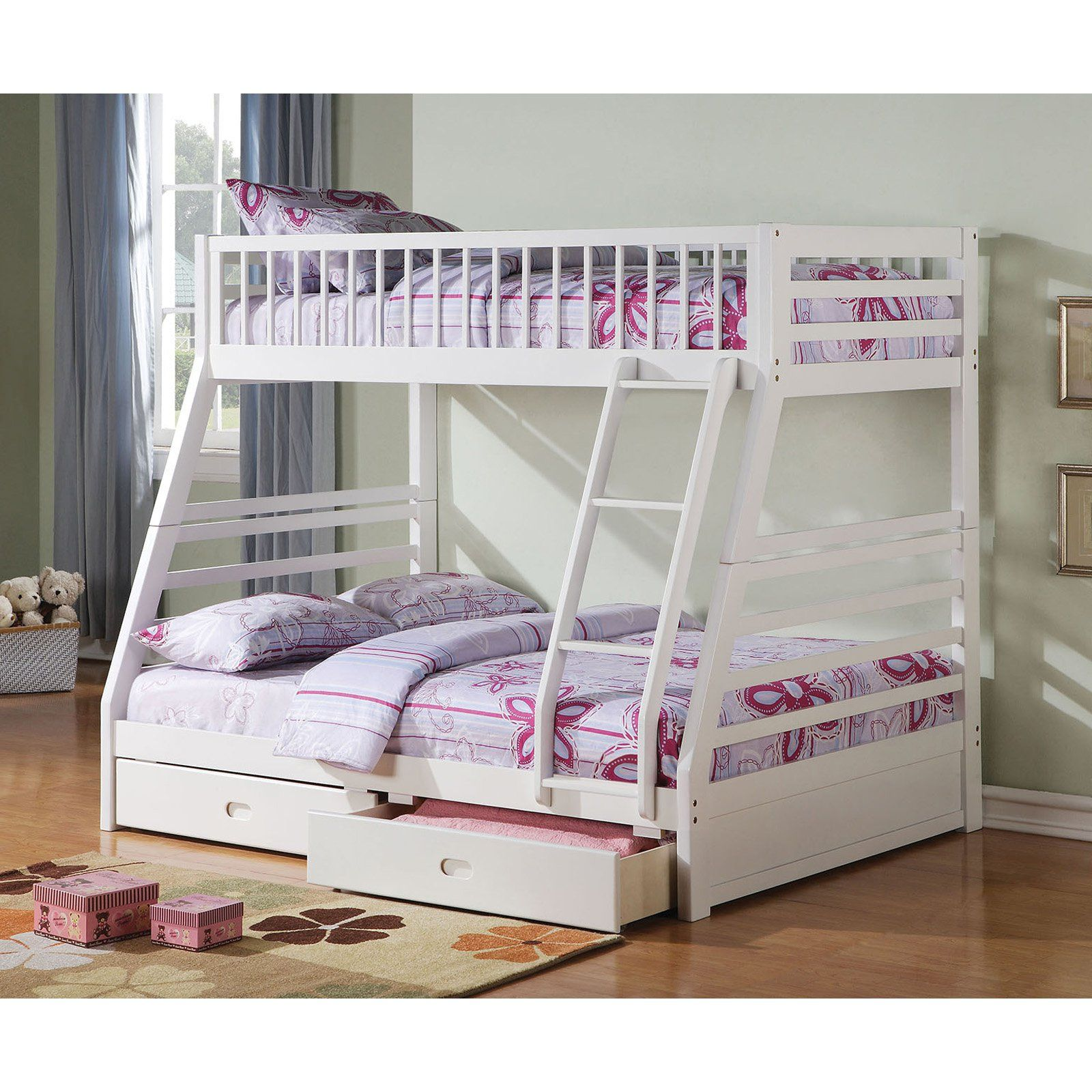 Acme Furniture Jason Twin Over Full Bunk Bed With Drawers White Bunk Beds Bunk Beds With Storage Bunk Bed Sets