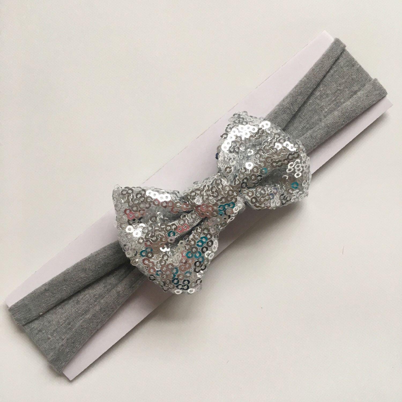 Grey Sequin Bow Baby Headband | Toddler Headband | Soft Jersey Headband by littlechancesdesigns on Etsy https://www.etsy.com/listing/514821627/grey-sequin-bow-baby-headband-toddler