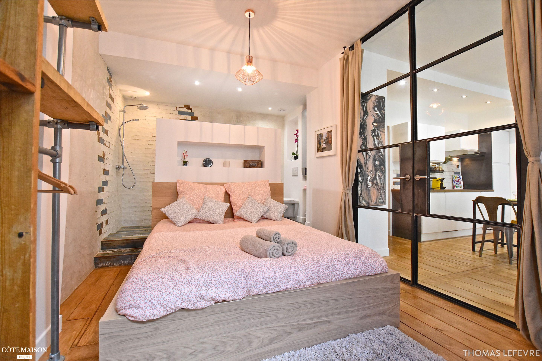 salle de bain ouverte sur la chambre latest suite parentale chambre avec salle de bains plan. Black Bedroom Furniture Sets. Home Design Ideas