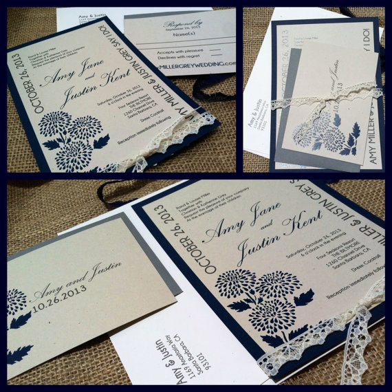 MODERN Wedding Invitations Elegant Grey Collection Navy Blue