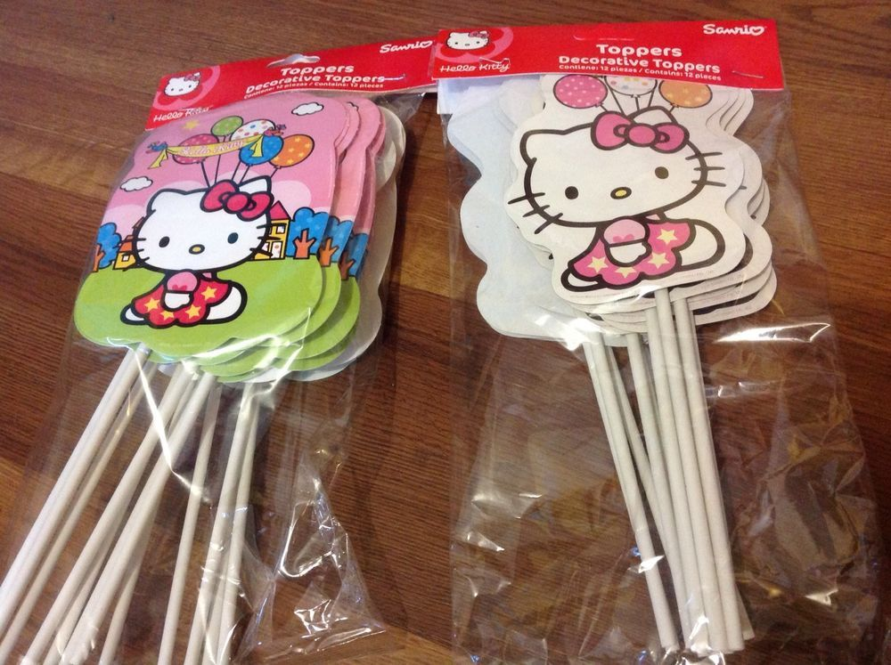 New O Kitty 12 Pc Set Of Party Toppers For Candy Bags Or Other Cool Granmark Birthdaychild