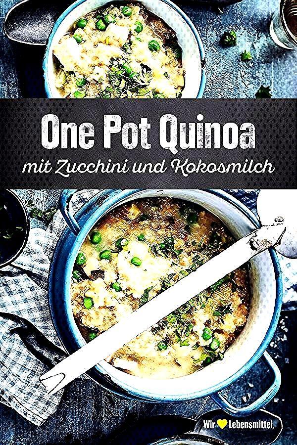 Durch die Kokosmilch wird unser Rezept für One Pot Quinoa mit Zucchini, Erbsen und Kokosmilch leck