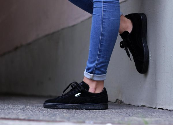 puma suede classic en daim noir femme 1 sneakers pinterest je pense je vais et all es. Black Bedroom Furniture Sets. Home Design Ideas