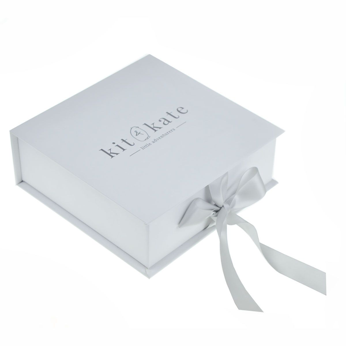 Beautiful white embossed logo paper box for wedding invitation cards ...