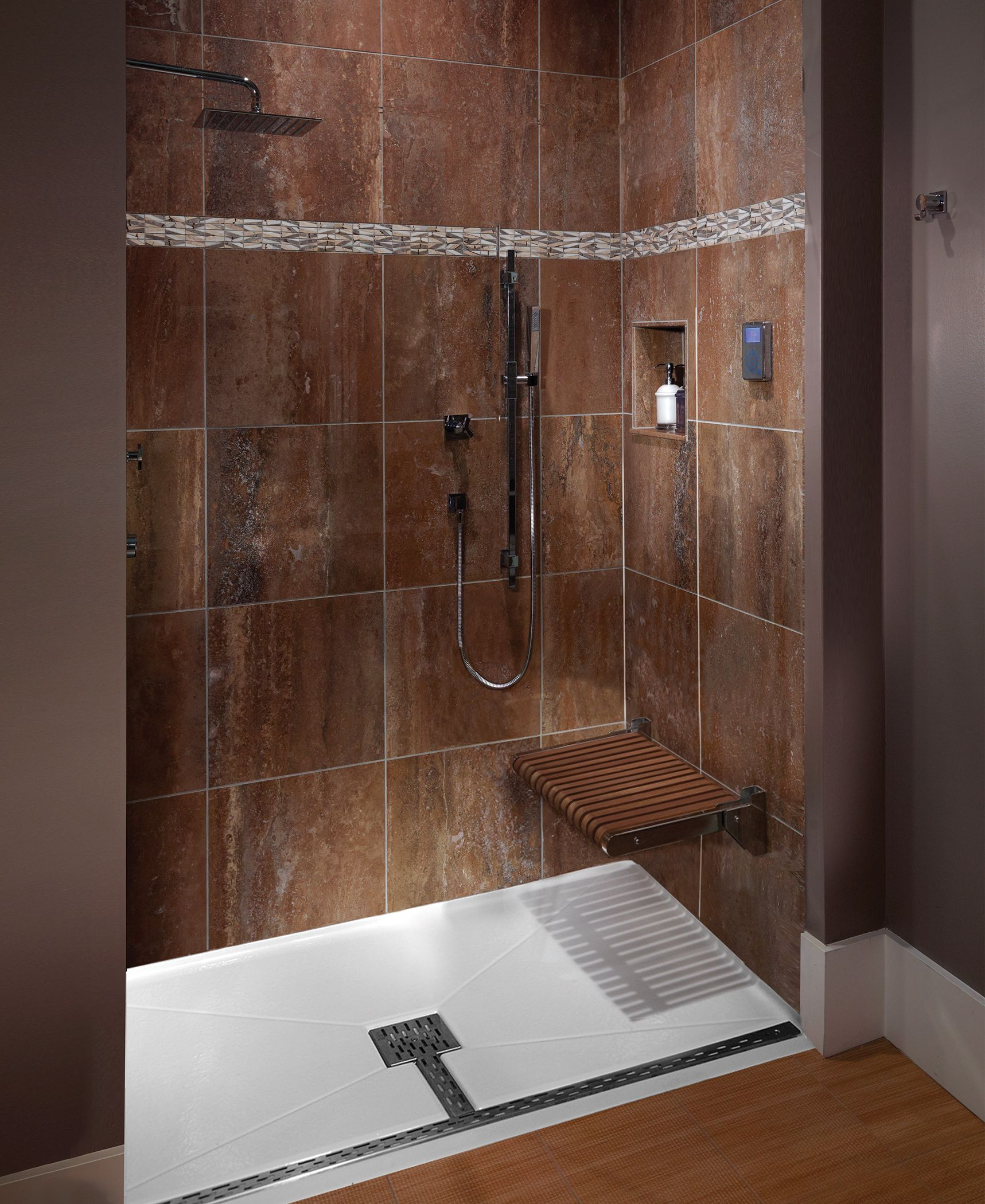 Mti Barrier Free Shower Base With Teak Seat That Folds Up When Not
