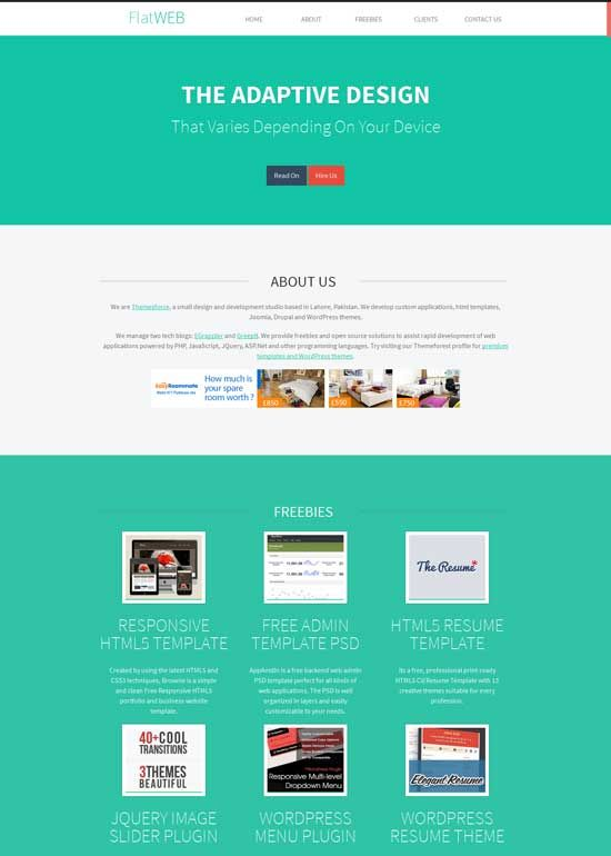 FlatWEB--Free-Flat-Design-HTML-Template Flat design Pinterest - resume website template