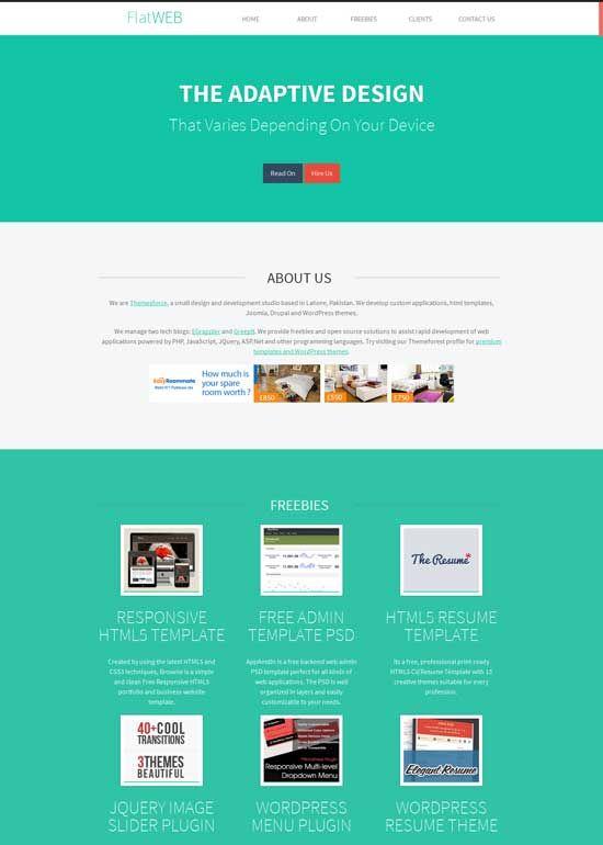 FlatWEB--Free-Flat-Design-HTML-Template | Flat design | Pinterest