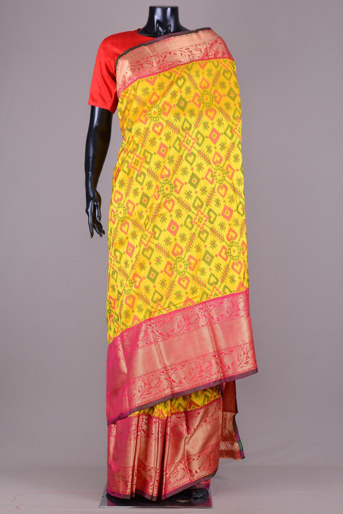Yellow silk saree yellow u green ikkat silk sareevd  vijji  pinterest  silk