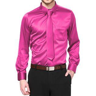 This boys hot pink satin dress shirt combo features a classic ...