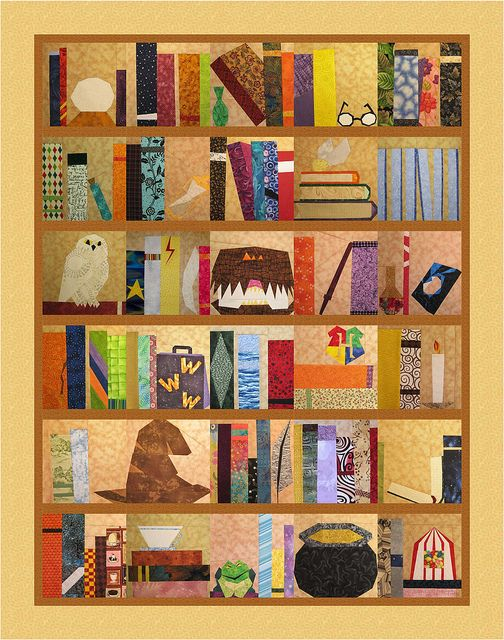 Harry Potter~ The Project of Doom - A Harry Potter Bookcase Quilt, Hogwarts, Characters, Character Related, Magical Creatures, Quidditch, Supplies, Magical Objects and Spells, Potions, The Tales of Beedle The Bard, Wizarding World and Other Locations, Alphabet.