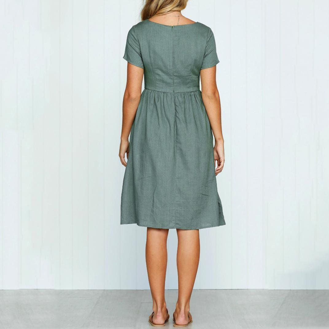 4f019a11f5 Muranba Women Beach Dress Short Sleeve O Neck Buttons Pocket Casual Beach  Dress Army Green L   For more information