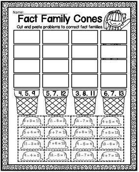 Fact Families   Fact family worksheet, Family worksheet ...