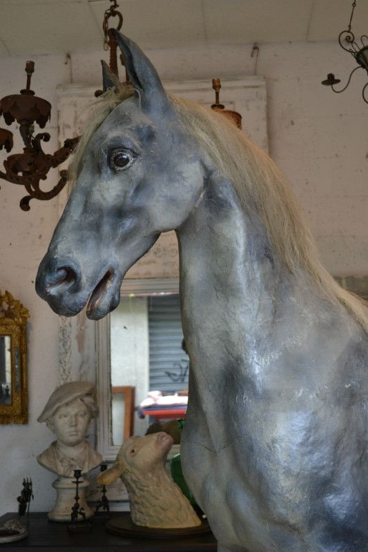 IMPORTANT UPHOLSTERY HORSE  PAINTED CARDBOARD  AND HORSEHAIR FRANCE SECOND HALF OF THE 19th CENTURY H:210cm W: 200 D: 5
