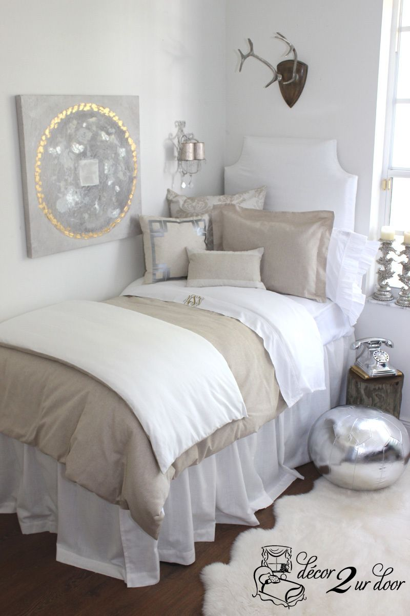 Neutral dorm room bedding grey pottery and girl dorms for Grey and neutral bedroom