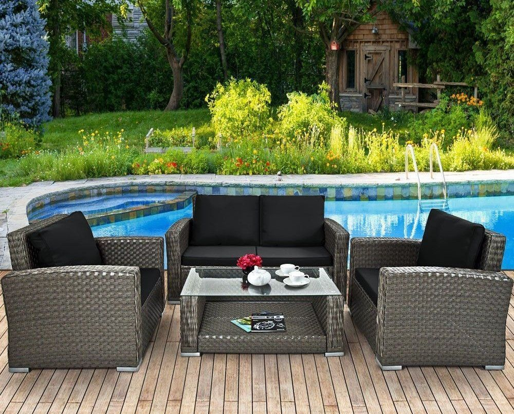 Unique Armchair Set Garden Rattan Table Sofa Lounge Chair Bench
